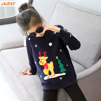 IAiRAY Brand Children Christmas Sweaters Girls Sweater With Deer Korean Style Pullover Navy Blue Long Sleeve