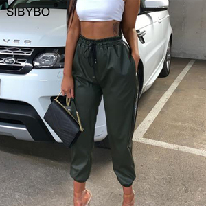Image 3 - SIBYBO High Waist PU Leather Casual Pants Women Fashion Drawstring Pockets Pencil Pants Solid Streetwear Autumn Women Trousers