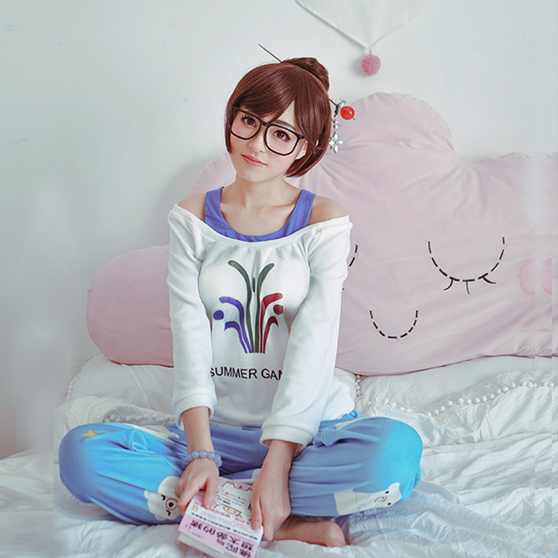 Game Ow Kawaii Mei Pajamas Sweater CG Rise and Shine Cosplay Meiling Zhou Cosplay Costume Mei Polar Bear Pants With Jewelry Set