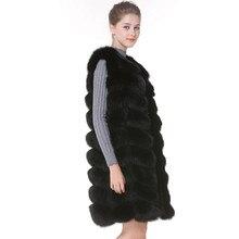 bccfbd1bf9 Prawdziwe Futro Kamizelka i Płaszcze Fox futra kobiet Kamizelki Futra Lisa  Naturalnego 90 cm Kobiet czarny