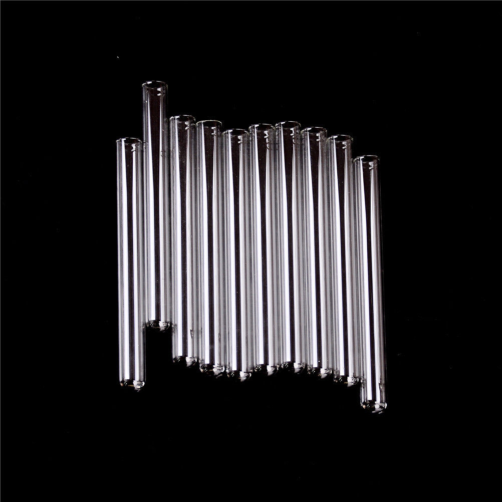 10Pcs/Set 10*100mm Transparent Pyrex Glass Blowing Tubes 100mm Long Thick Wall Test Tube New