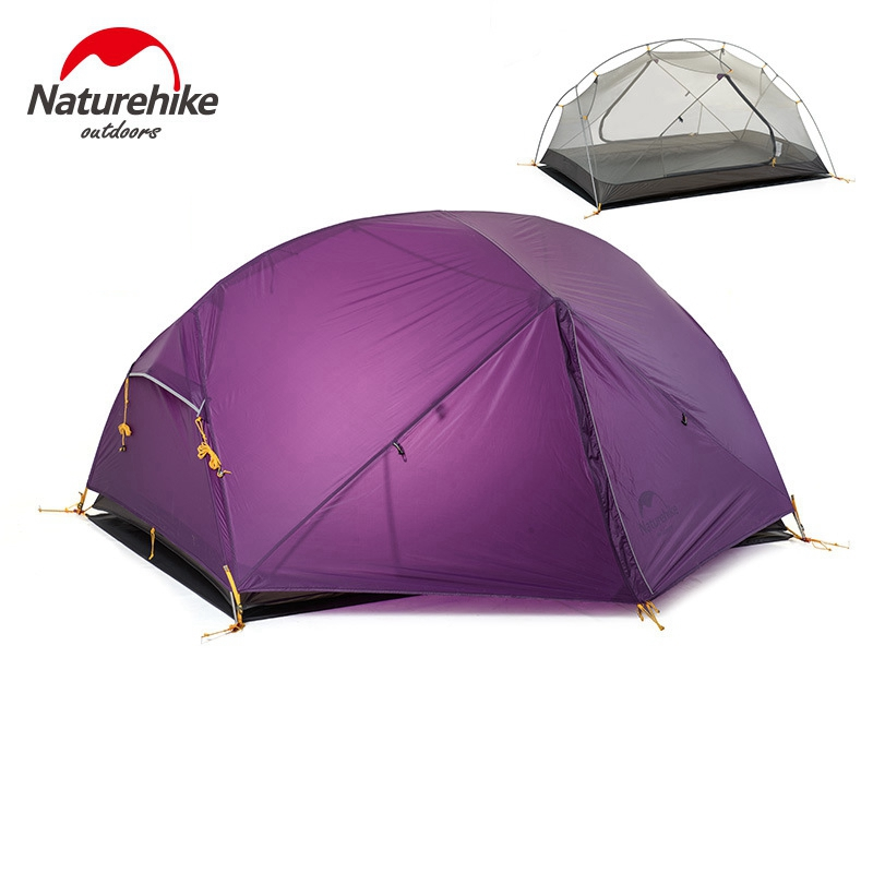 Naturehike Dome Tent 2 Person 20D Silicone Fabric Double Layers Rainproof NH Outdoor Ultralight Camping Tent 3Colors nh cloud outdoor single person camping tent anti rain 4seasons ultraportability 20d nylon silicone cated waterproof 8000mm