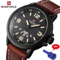 Naviforce Fashion Men Sports Watches Men's Quartz Hour Date Clock Man Leather Strap Military Army Waterproof Wrist watch 9028