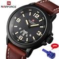 Naviforce moda hombres deportes relojes hombres de cuarzo horas fecha reloj de hombre correa de cuero militar del ejército reloj impermeable 9028