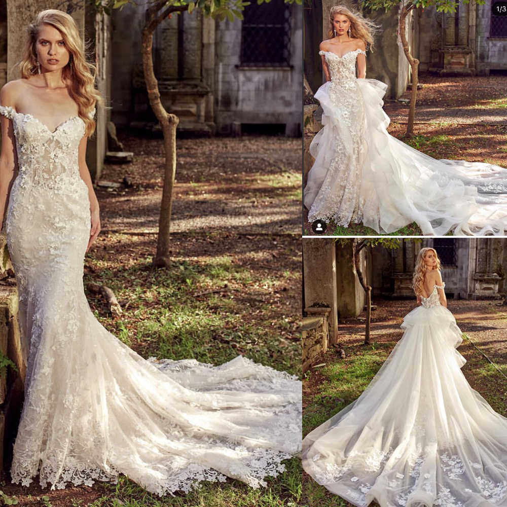 Detachable Trains For Wedding Gowns: Lace Wedding Dresses Off The Shoulder Detachable Train