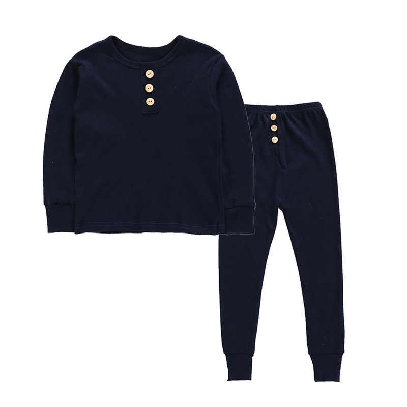 Пижамный комплект для мальчиков и девочек, Детская осенняя теплая Плотная хлопковая мягкая Пижама, однотонный топ с круглым вырезом для малышей, штаны домашняя одежда