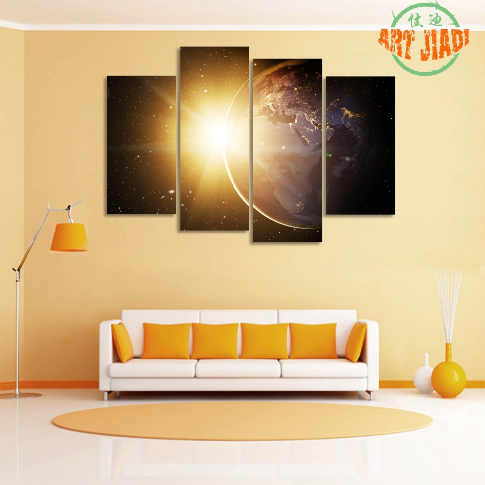 Rising Sun On Planet Earth Surface 4 Pieces/sets Canvas Art Canvas ...