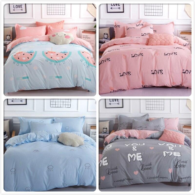 Pink Blue AB Side Plaid Kids Single Size Bedlinens 3pcs 4pcs Bedding Set Double Queen King Duvet Cover 1.8m 2.0m Beds Flat Sheet