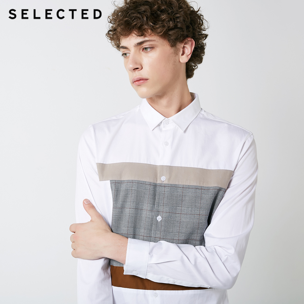Image 4 - SELECTED New Mens Cotton Lattice Stitching Business Leisure Long Sleeve Shirt S  418405548Casual Shirts