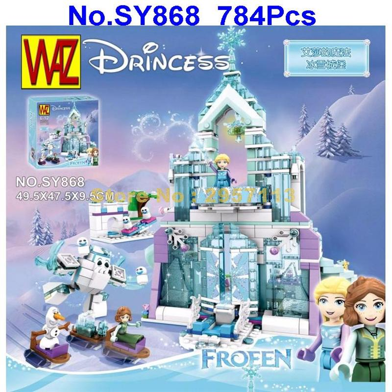 Sy868 784pcs Friends Elsa\'s Magical Ice Palace Castle  Anna&olaf Building Block Compatible 41148 25002 Brick Toy casual plaid pattern fringed edge square scarf