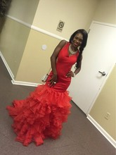 Red Mermaid Evening Dress Long 2016 Ruffle Skirt