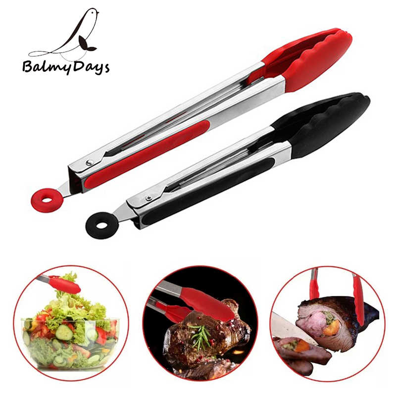 Kitchen Tongs Silicone BBQ Tongs Meat Salad Bread Food Serving Tongs Barbecue Grilling Cooking Tongs BBQ Tools Kitchen Utensils