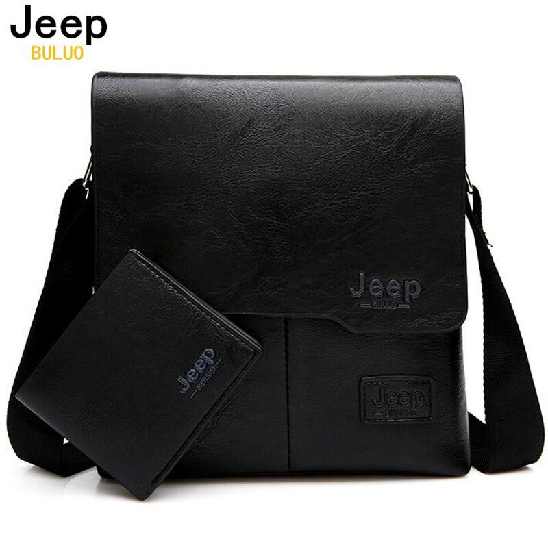 JEEP BULUO hombres bolsas de mensajero 2 Set famosa marca de cuero de la Pu bolso de hombro para hombre de negocios bolsas caliente venta de moda