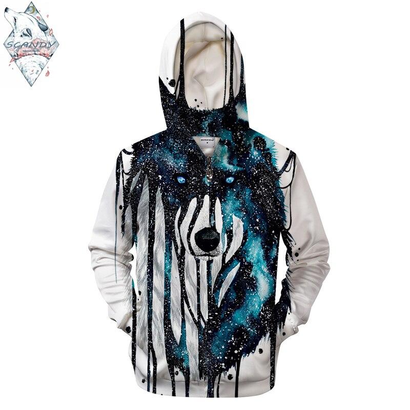 Dripping Galaxy Wolf By Scandy Girl Arts 3D Print Hoodies Men Casual Sweatshirt Brand Tracksuit Pullover  Hoodie Coat Zipper
