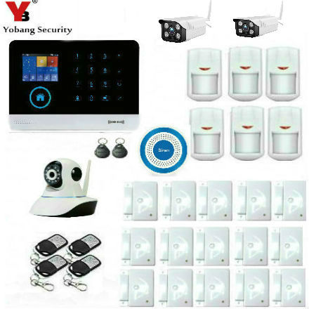 YobangSecurity Wireless Wifi GSM SMS ANDROID IOS APP Home Burglar Security Alarm System Wireless Siren Outdoor Video IP Camera 16 ports 3g sms modem bulk sms sending 3g modem pool sim5360 new module bulk sms sending device