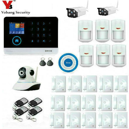 Special Offers YobangSecurity Wireless Wifi GSM SMS ANDROID IOS APP Home Burglar Security Alarm System Wireless Siren Outdoor Video IP Camera