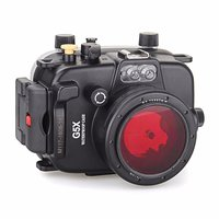 Free ship DHL Meikon 40m Underwater Waterproof Camera Housing Case for Canon G5X + 67mm Red Filter for gift