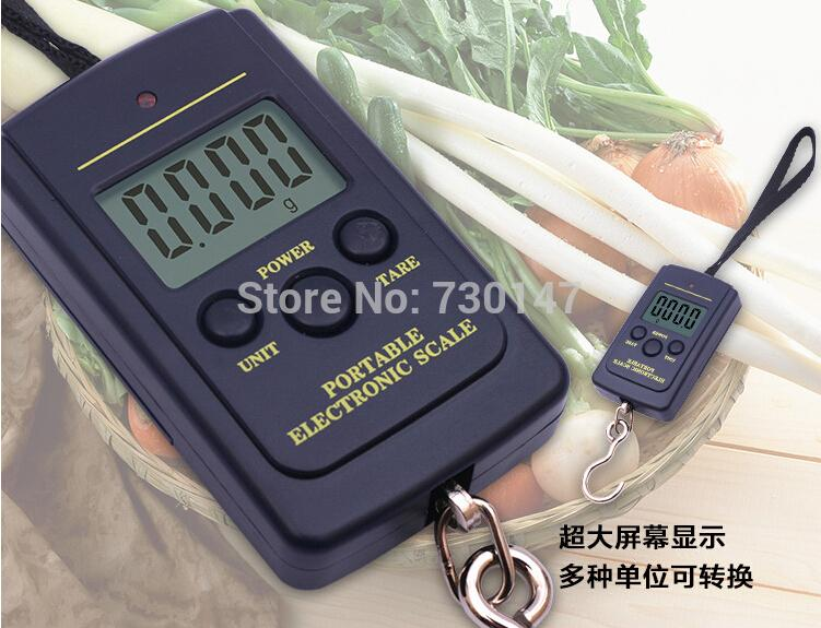 50pcs 40kg*10g houshold Hanging Handheld scale Portable Digital Electronic Scale Weight Backlight LCD Display Luggage pocket
