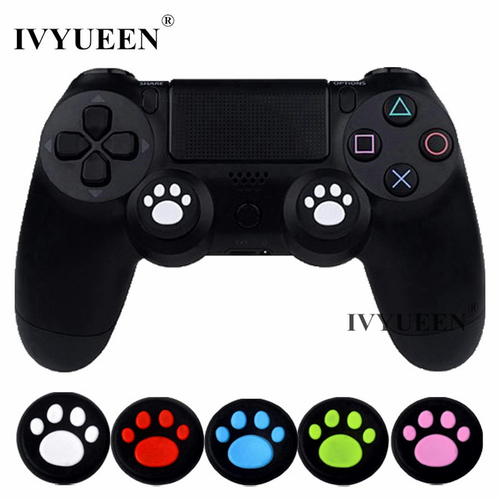 IVYUEEN 4 Pcs Silicone Analog Thumb Sticks Grips For Sony PlayStation 4 PS4 Slim Pro Controller Caps Cover For XBox One X S