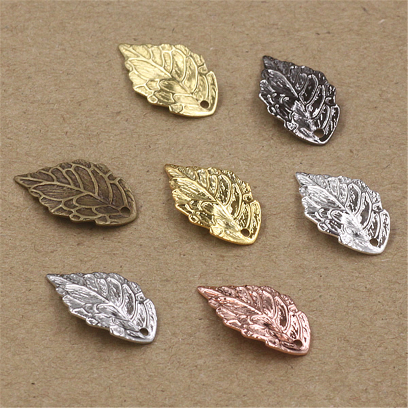 50Pcs Wholesale 7 Colors 10x18MM Filigree Leaf Charm Pendants DIY Brass Floating Charms For Jewelry Making Lead And Nickel Free