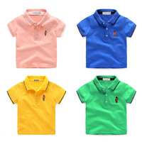 2017 Summer Boys POLO Shirt Kids Turn Down Short Cartoon Embroidered Polyester Cotton Shirt Toddler Casual
