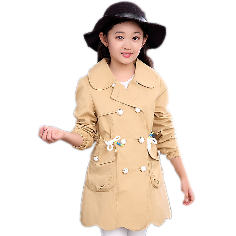 ФОТО Children clothing double-breasted girls trench coats  turn down collar girls jackets and coats drawstring kids cardigan outwear