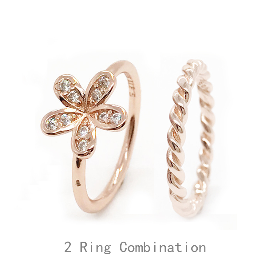 Wholesale S925 Sterling Silver Gold Rings Dazzling Daisy, & Clear CZ Finger Ring Classic With women Wedding Party Jewelry Rings