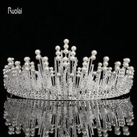 2017 Hot Sale Charming Vintage Baroque Silver Crown Pearls Headwear Bridal Dresses European Wedding Veils Crown