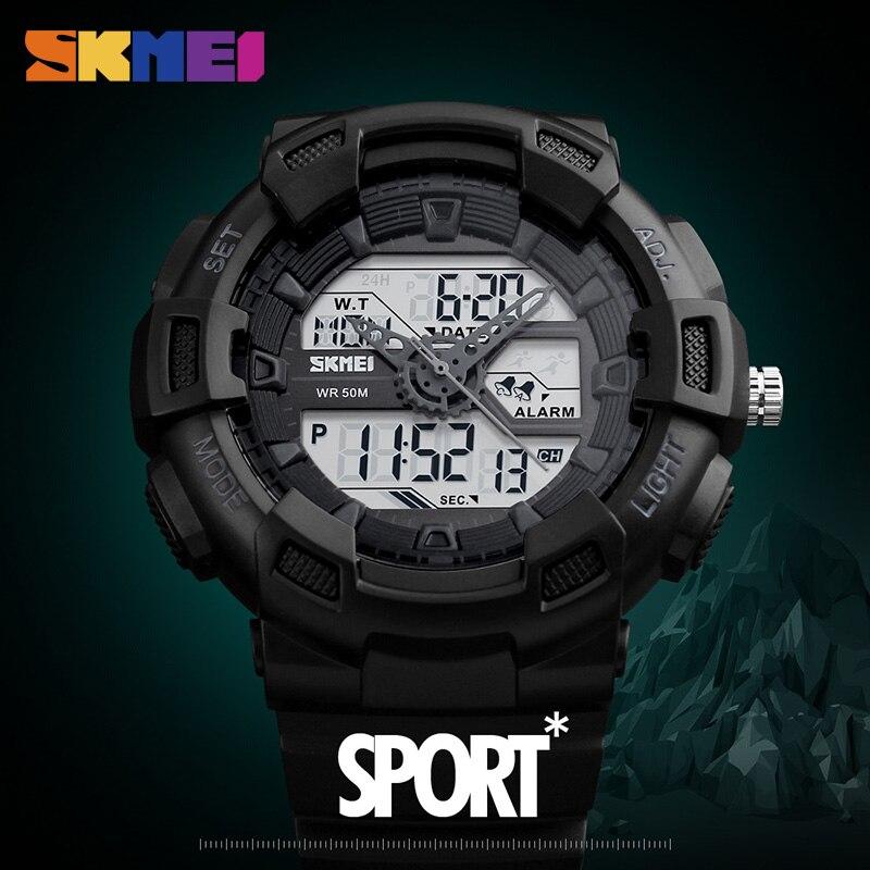 SKMEI מפורסם מותג גברים שעונים חיצוני ספורט קוורץ שעוני יד אופנה מקרית זהב שעון גברים שעון עמיד למים תצוגה כפולה שעון