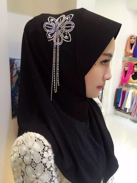 2015 Женщин Кристалл Цепи Отделкой Шарф Сплошной Цвет Pearl Кисточкой Шалей Шарфа Хиджаба