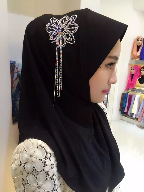 2015 Women Crystal Chain Trim Scarf Solid Color Pearl Tassel Scarf Shawls Wraps Hijabs