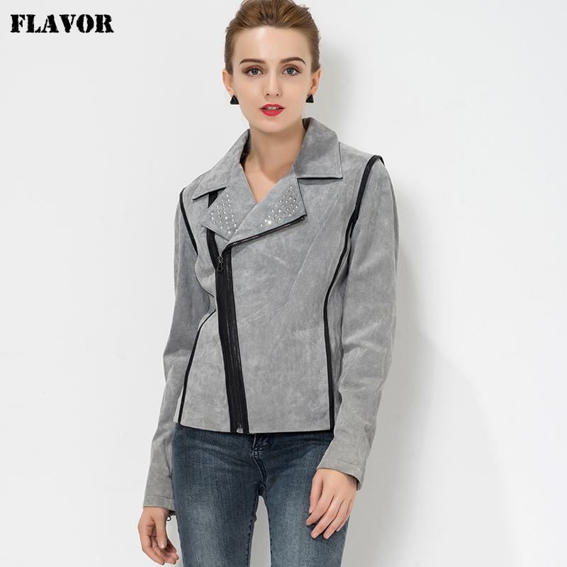 S 4XL Women s real motorcycle leather jacket Gray Pigskin biker jacket motorcycle coat women slim