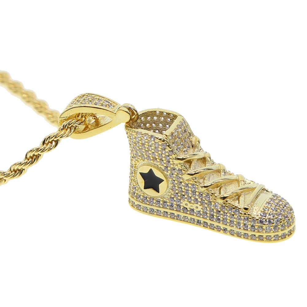 Hip Hop liny naszyjnik dla mężczyzn złoty kolor gruby mosiądz micro pave CZ Hippie Rock łańcuch długi/Choker Hot moda biżuteria
