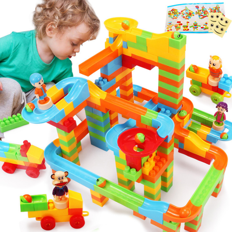 DIY Assembly Construction Marble Race Run Maze Gaming Ball Track Building Blocks Children Baby Kid Blocks Educational Toys inflatable zorb ball race track pvc go kart racing track for sporting party