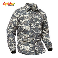 IGLDSI US Military Style Camouflage Tactical Shirt Men Removable Waterproof Army Soldiers Combat Shirts Long Sleeve