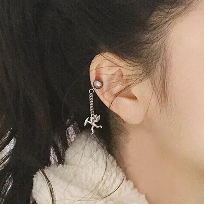 1 Pc 2019 Neue Punk Weiß Schwarz Perle Fee Winkel Charme Clips Ohrringe Ohne Durchbohrten Ohr Clip Für Frauen Clip Auf Ohrringe In Den Spezifikationen VervollstäNdigen