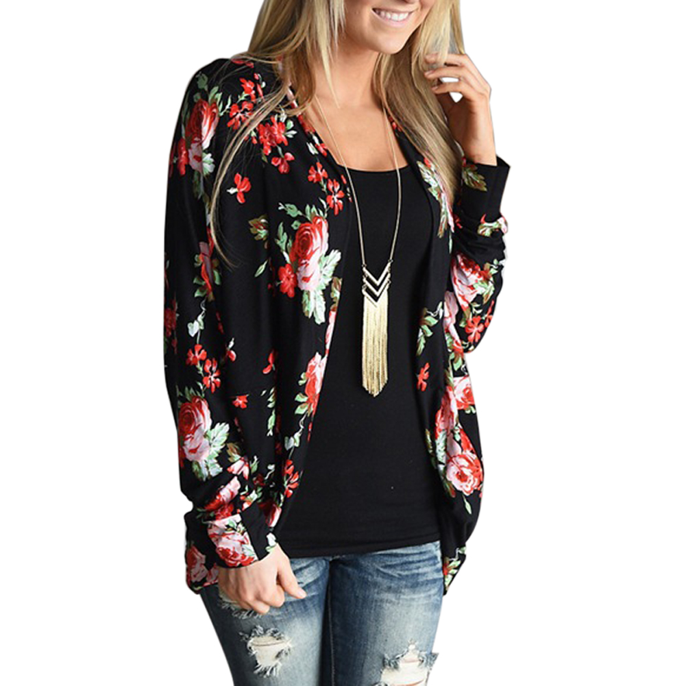 Women Long Sleeve Cardigan Loose Outwear Jacket Flower Print Coat Fashion Boho V-Neck Slim Fit Female Thin Casual Cardigan