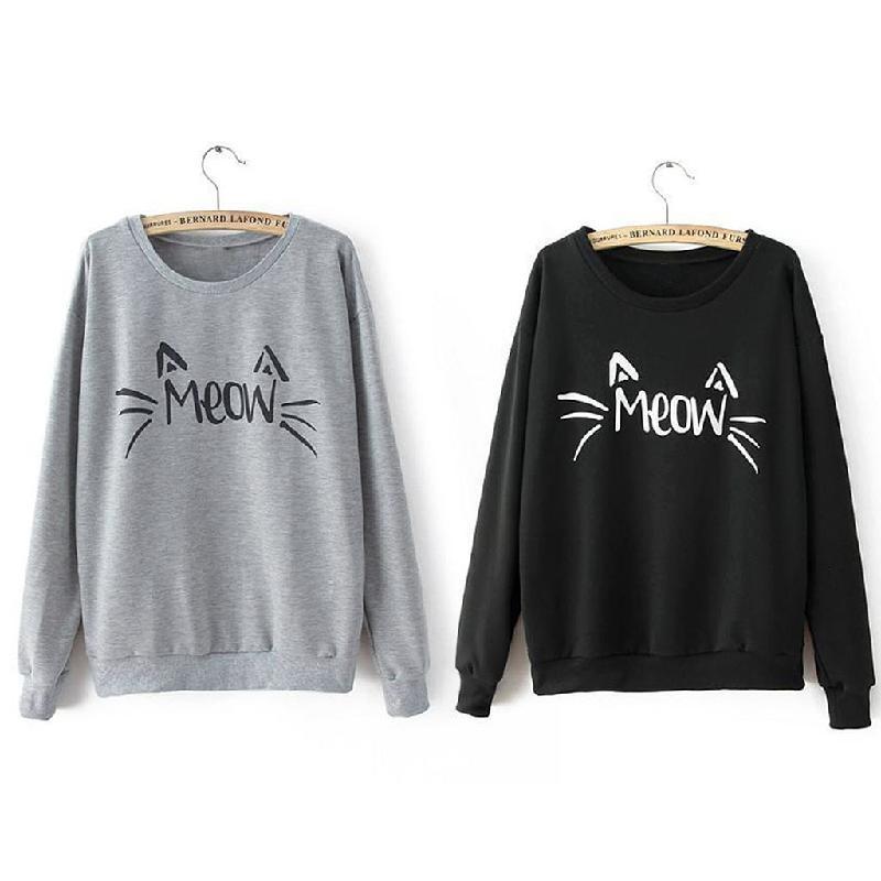Autumn Winter Charm Women Long Sleeve MEOW Print Tops Jacket Coat Warm Cozy Sweatshirt Black/Grey