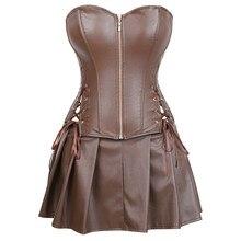 sexy leather dresses corsets skirt burlesque front zipper gothic punk steampunk bustier corset overbust korsett plus size brown