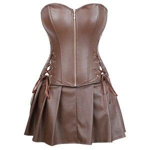 Image 1 - sexy leather dresses corsets skirt burlesque front zipper gothic punk steampunk bustier corset overbust korsett plus size brown