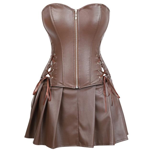 סקסי עור שמלות מחוכי חצאית בורלסק קדמי רוכסן גותי פאנק steampunk bustier מחוך overbust korsett בתוספת גודל חום