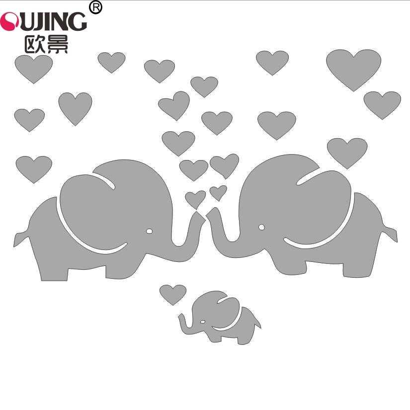 Cartoon Cute Little Elephants Family Heart Shaped Wall Stickers For Kids Baby Rooms Nursery Home Decor Heart Wallpaper Art Mural