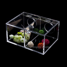 Acrylic Storage Stackable Display Box Desktop Jewelry Organizer Holder With Two Hole On Back