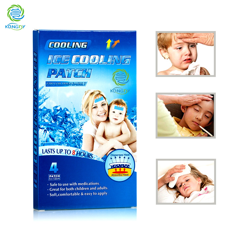 KONGDY Health Care Cooling Gel Patch for Adult and Children 8 Pieces=2 Boxes Medical Baby Fever Pad Herbal Pain Relief  Patch 2 boxes of tien calcium for children