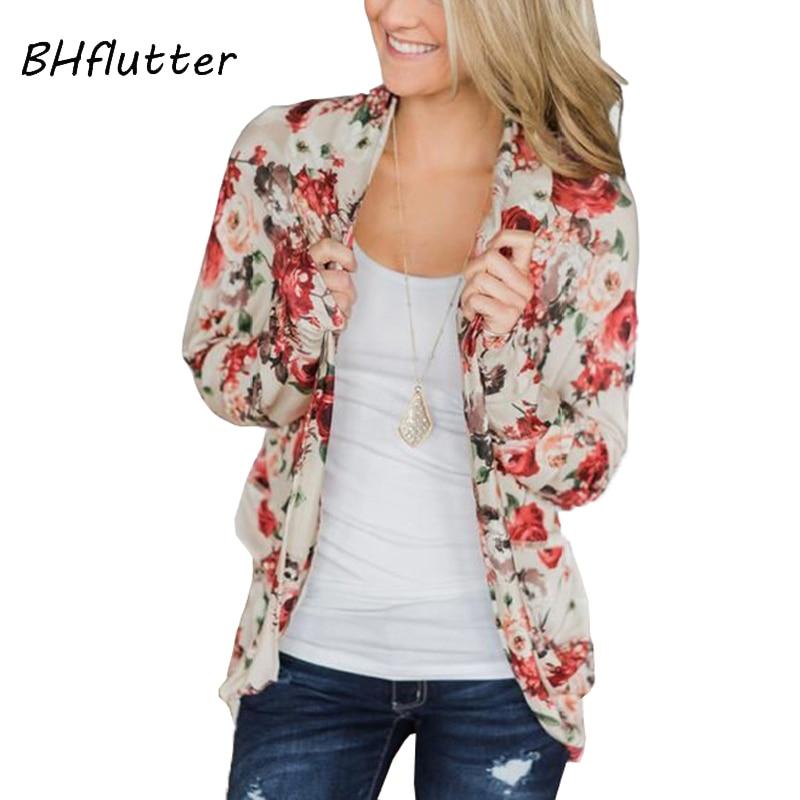 BHflutter Plus Size Cardigan Women Floral Print Open Stitch Tops Outerwear Autumn Winter Harajuku Casual Cardigans 2019 Kardigan