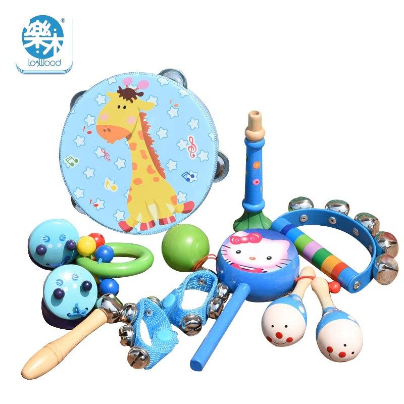 Bois de campêche nouveau 13 pcs En Bois hochet hochet son jouet ensemble musical instrument cadeau bébé Kid Enfant Jouets Pour Le Plaisir