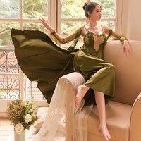 Сексуальный мусс женские ночные сорочки одежда для сна черный халат сексуальный кружевной сетчатый пятен Белый Розовый Зеленый Новый