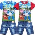 Nuevo Estilo 2016 Del Verano Niños Que Arropan el sistema t-shirt + pants 2 unids set, Niños Niñas ropa de los cabritos familia ropa de algodón