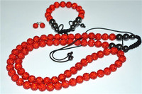 50 Discount 12mm 70 Ball Red OKE Micro Pave CZ Disco Beads Crystal Shamballa Set Necklace