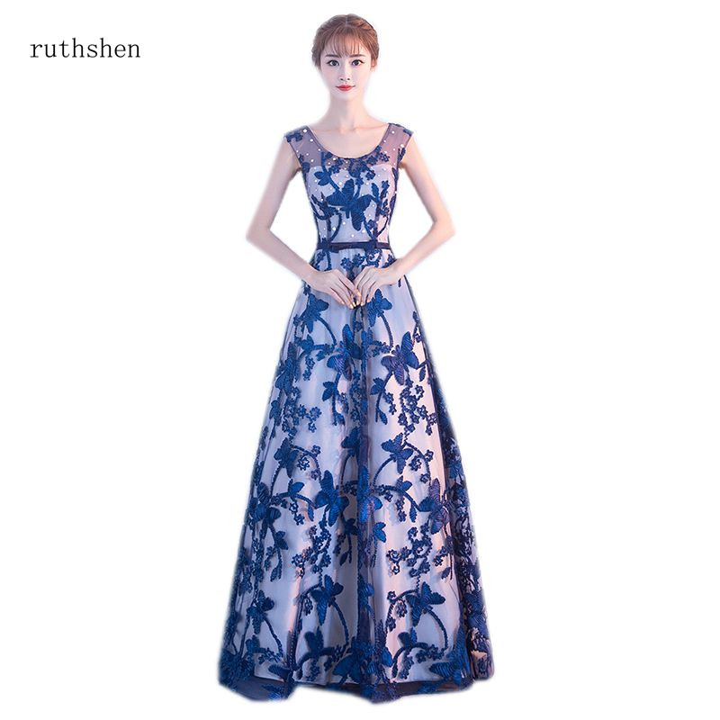 Long Prom Dresses 2019 Royal Blue Embroidery Lace Illusion A-line Full Length Evening Party Frocks Special Occasion Formal Dress